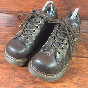 Dr. Martens Brown Leather Oxford Shoes W 8 Flowers